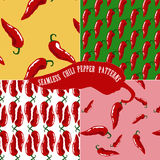 Seamless patterns with chili pepper Royalty Free Stock Images