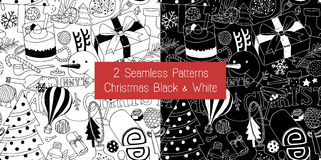 2 Seamless Patterns Christmas Black and White. This is vector pattern for Christmas celebration stock illustration
