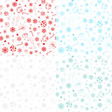 Seamless patterns from christmas symbols Stock Photo