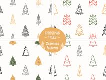 Seamless Patterns with Christmas Trees stock illustration