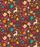 Seamless patterns with Christmas trees, reindeers Royalty Free Stock Photos
