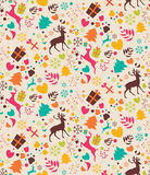 Seamless patterns with Christmas trees, reindeers Stock Image