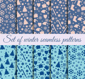 Seamless patterns Christmas. Winter color trends: Riverside, Pale Dogwood, Island Paradis. Stock Photos
