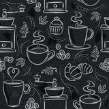 Seamless patterns with coffee set, cup, heart, coffee mill and text on black chalkboard. Ideal for printing onto fabric and paper. Or scrap booking stock illustration