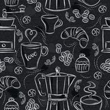 Seamless patterns with coffee set, coffee maker, muffin, cup, flower on black chalkboard. Ideal for printing onto fabric and paper. Or scrap booking royalty free illustration