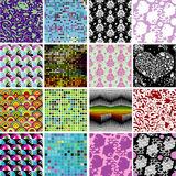 Seamless patterns collection. A collection of 16 seamless background patterns Royalty Free Stock Photos