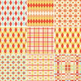 Seamless patterns collection in bright colors Stock Photography
