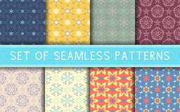 Seamless patterns. Collection of colored floral backgrounds. For textile, fabrics or wallpapers royalty free illustration