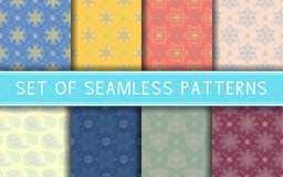 Seamless patterns. Collection of colored floral backgrounds. For textile, fabrics or wallpapers Stock Photography