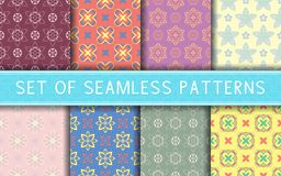 Seamless patterns. Collection of colored floral backgrounds. For textile, fabrics or wallpapers stock illustration
