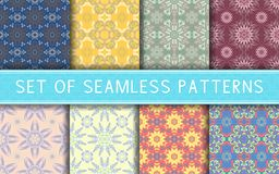 Seamless patterns. Collection of colored floral backgrounds. For textile, fabrics or wallpapers Stock Photos