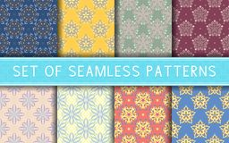 Seamless patterns. Collection of colored floral backgrounds. For textile, fabrics or wallpapers Stock Image