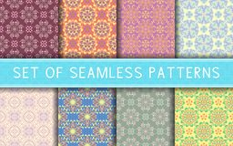 Seamless patterns. Collection of colored floral backgrounds. For textile, fabrics or wallpapers Royalty Free Stock Images