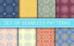 Seamless patterns. Collection of colored floral backgrounds. For textile, fabrics or wallpapers Royalty Free Stock Photography
