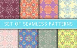 Seamless patterns. Collection of colored floral backgrounds. For textile, fabrics or wallpapers Royalty Free Stock Photos