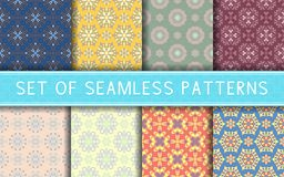 Seamless patterns. Collection of colored floral backgrounds. For textile, fabrics or wallpapers Stock Photo