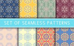 Seamless patterns. Collection of colored floral backgrounds. For textile, fabrics or wallpapers Stock Images