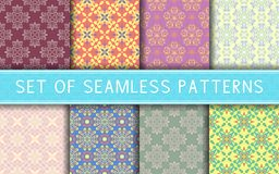 Seamless patterns. Collection of colored floral backgrounds. For textile, fabrics or wallpapers Vector Illustration