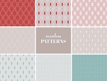 Seamless patterns collection. Collection of 8 seamless, delicate patterns. Vector illustration royalty free illustration