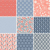 Seamless patterns collection with hearts and flowers