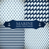 Seamless patterns collection. Set of sea and nautical backgrounds in dark blue and white colors. Sea theme. Seamless patterns collection. Vector illustration Royalty Free Stock Images
