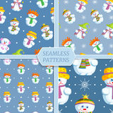 Seamless patterns collection with snowmen. Set of seamless patterns with snowmen. Vector illustration. Collection of seasonal backgrounds for winter, Christmas Royalty Free Stock Photos