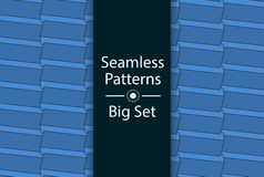 Seamless Patterns with color 3D rectangles, Big Set, vector. Stock Image