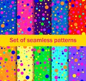Seamless patterns with colored circles are randomly scattered. Bright colors, collection of ten backgrounds. Vector. Illustration royalty free illustration