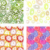 Seamless patterns with colorful abstract flowers Royalty Free Stock Photography