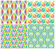 Seamless patterns with colorful leaves. Vector set Royalty Free Stock Photo