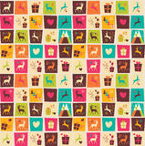 Seamless patterns with colorful squares, Christmas reindeers Stock Image