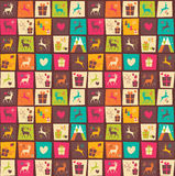 Seamless patterns with colorful squares, Christmas reindeers Stock Photo