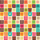 Seamless patterns with colorful squares and snowflakes Royalty Free Stock Images
