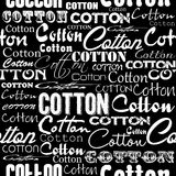 Seamless patterns with cotton flower and fonts. Royalty Free Stock Photo