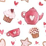 Seamless patterns with cup and teapot. Pink Watercolor set of elements for Valentine`s day. Scrapbook design elements. Typography poster, card, label, banner Royalty Free Stock Photo