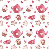 Seamless patterns with cup and teapot. Pink Watercolor set of elements for Valentine`s day. Scrapbook design elements. Typography poster, card, label, banner Royalty Free Stock Photos