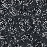 Seamless Patterns with cupcake, croissan, cake and bonbon on grunge blackboard.Ideal for printing onto fabric and paper or scrap. Seamless Patterns with cupcake royalty free illustration