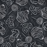 Seamless patterns with cupcake, croissant and cookie on grunge b Stock Photo