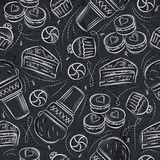Seamless Patterns with cupcake, ice cream, cake and cookie on gr Stock Photo