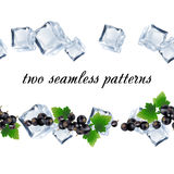 Seamless patterns with currant and ice. Royalty Free Stock Photos