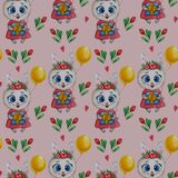 Seamless patterns with cute animals. Bunny girl in a pink dress with flowers, a gift and a balloon on a pink background