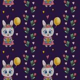 Seamless patterns with cute animals. Bunny girl in a pink dress with flowers, a gift and a yellow balloon on a blue