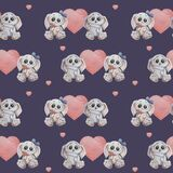 Seamless patterns. Cute animals. Two gray bunnies in love. A girl with a bow and a flower and a boy with a gift in his paws on a