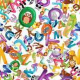 Animals alphabet background, Set of cartoon English type letters vector illustration