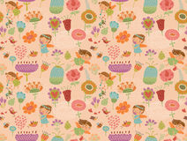 Seamless patterns with cute fairy with flowers Royalty Free Stock Image