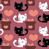 Seamless patterns with cute kittens Royalty Free Stock Photography