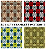 Seamless patterns with decorative ornament of brown, blue, red, white, black, teal, yellow and green shades Stock Photos