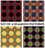 Seamless patterns with decorative ornament of grey, red, black, blue, orange, beige, yellow and green shades Stock Photo