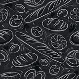 Seamless patterns with different breads, pretzel, and bap on blackboard. Ideal for printing onto fabric and paper or scrap booking.  stock illustration