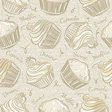Seamless Patterns with different cupcaks Royalty Free Stock Photos